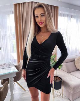 Γυναικείο βελουτέ φόρεμα 6036 μαύρο