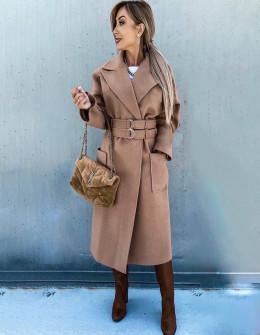 Γυναικείο εντυπωσιακό παλτό 6122 καμηλό