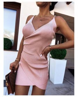 Γυναικείο πλεκτό φόρεμα με μεταλλικές τιράντες 4644 ροζ