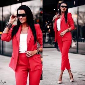 Γυναικείο σετ σακάκι και παντελόνι 3970 κόκκινο
