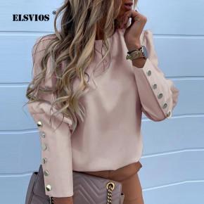 Γυναικείο πουκάμισο με χρυσά κουμπιά 382001 ροζ