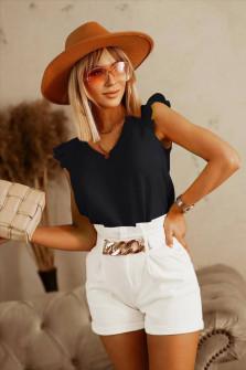 Γυναικεία μπλούζα με κορδόνι στην πλάτη 5650 μαύρη