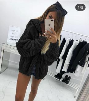 Γυναικεία κοντή  ζακέτα με κουκούλα 9106 μαύρη