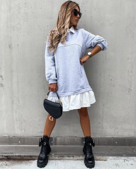 Γυναικείο εντυπωσιακό μπλουζοφόρεμα 4081 γκρι