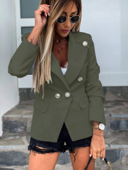 Γυναικείο κομψό σακάκι με φόδρα 5272 σκούρο πράσινο