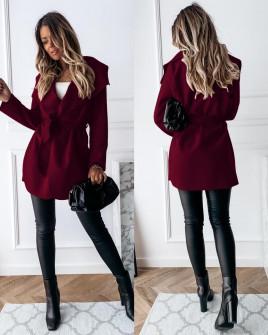 Γυναικείο παλτό με ζώνη χωρίς φόδρα 5290 μπορντό