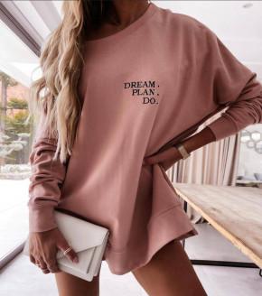 Γυναικείο χαλαρό μπλουζοφόρεμα 4471 ροζ