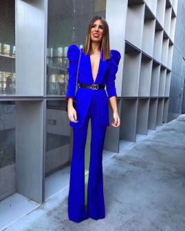 Γυναικείο σετ με σακάκι και παντελόνι 9808 μπλε