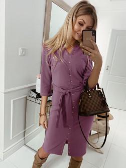 Γυναικείο φόρεμα με τρουξ και ζώνη 3978 μωβ