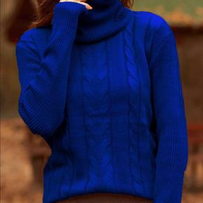 Πλεκτή μπλούζα ζιβάγκο 81027 μπλε