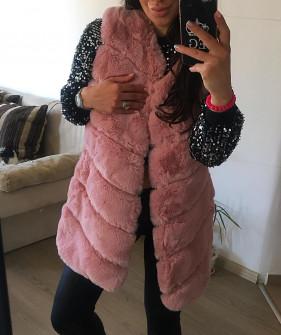 Γυναικείο γούνινο γιλέκο 7658 ροζ