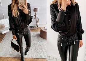 Γυναικεία μπλούζα με κουμπιά 3901 μαύρη