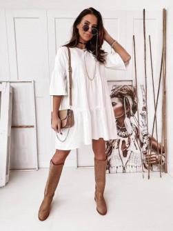 Γυναικείο χαλαρό φόρεμα 5604 άσπρο
