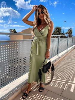 Γυναικείο φόρεμα σατέν 5160 πράσινη