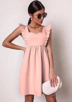 Γυναικείο φόρεμα με εντυπωσιακό ντεκολτέ 20510 ροζ