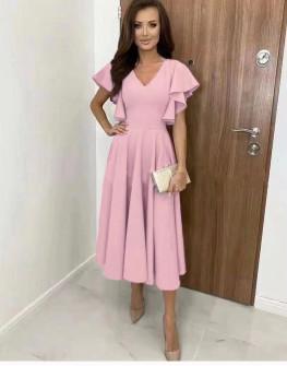 Γυναικείο φόρεμα μίντι 8059 ροζ