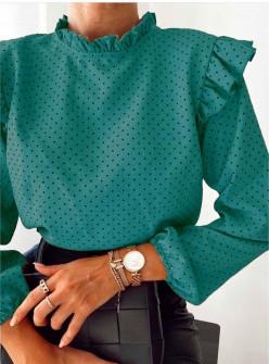 Γυναικεία μπλούζα πουά 5315 τυρκουάζ