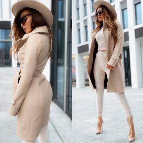 Γυναικείο κομψό παλτό με φόδρα 6083 μπεζ