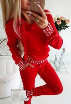 Γυναικείο σετ βελουτέ 2846 κόκκινο