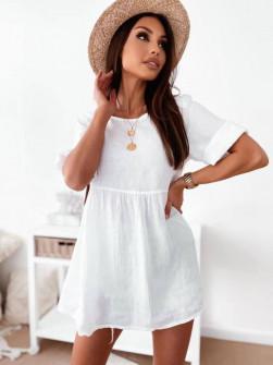 Γυναικείο μονόχρωμο μπλουζοφόρεμα 27931 άσπρο