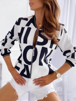 Γυναικείο μπουφάν με print 3337 άσπρο