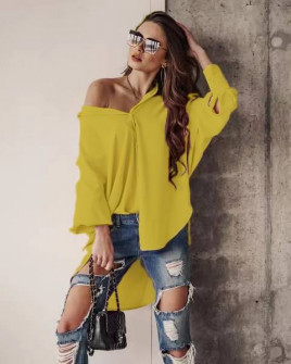 Γυναικείο χαλαρό πουκάμισο 21032 κίτρινο