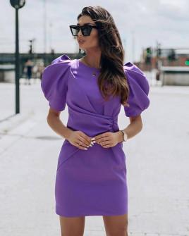 Γυναικείο φόρεμα με φουσκωτό μανίκι 21925 μωβ