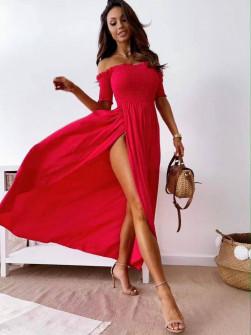 Γυναικείο φόρεμα με σφηκοφωλιά 211701 κόκκινο