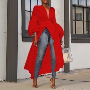 Γυναικείο ασύμμετρο μπλουζοφόρεμα 3222 κόκκινο
