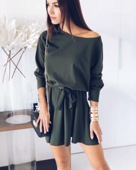 Γυναικείο χαλαρό φόρεμα με ζώνη 3140 σκούρο πρασινο