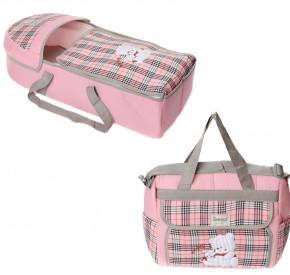 Σετ πορτ μπεμπέ και τσάντα 00454 ροζ