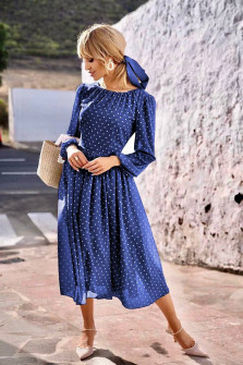 Γυναικείο φόρεμα πουά 2983501 μπλε