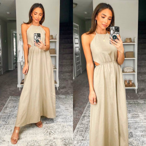 Γυναικείο μακρύ φόρεμα 8121 μπεζ