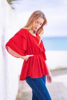 Γυναικεία μπλούζα με εντυπωσιακό μανίκι 5071 κόκκινη