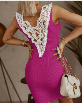 Γυναικείο φόρεμα με εντυπωσιακή δαντέλα 5583 φούξια