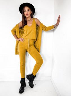 Γυναικείο σετ 3τμχ. τοπάκι, ζακέτα και κολάν 62010 κίτρινο