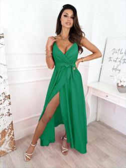Γυναικείο σατέν φόρεμα με σκίσιμο 5845 πράσινο