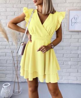 Дамска рокля прегърни ме 3980 жълта
