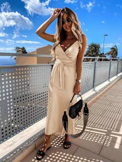Γυναικείο φόρεμα σατέν 5160 μπεζ