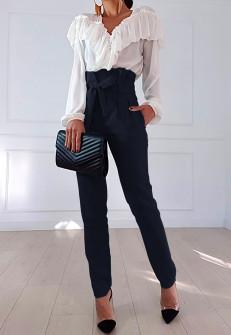 Γυναικείο ψηλόμεσο παντελόνι 19176 σκούρο μπλε