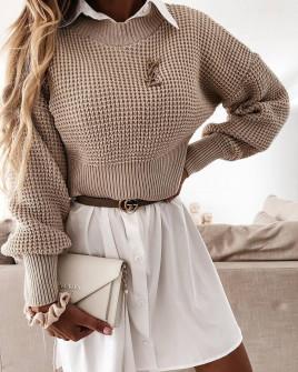 Γυναικείο μονόχρωμο πουλόβερ 00876 μπεζ