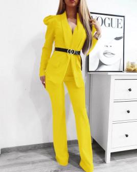 Γυναικείο σετ με σακάκι και παντελόνι 9808 κίτρινο