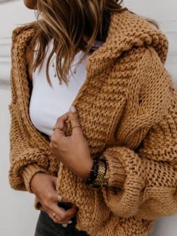 Γυναικεία κοντή ζακέτα με κουκούλα 9106 μουσταρδί