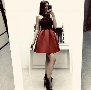 Γυναικείο φόρεμα με δαντέλα 22600 μπορντό
