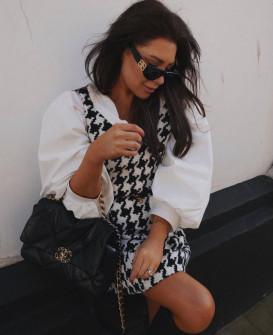Γυναικείο πτι-καρό φόρεμα με φουσκωτά μανίκια 21887