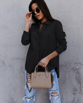 Γυναικείο βαμβακερό πουκάμισο 5551 μαύρο