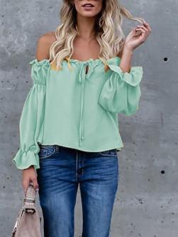 Γυναικεία μπλούζα με λαστιχένιο ντεκολτέ 3168 μέντα
