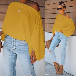 Γυναικεία μπλούζα με φουσκωτό μανίκι 2408 κίτρινη
