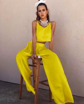 Γυναικείο σετ τοπάκι και παντελόνι 5069 κίτρινο