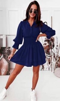 Γυναικείο φόρεμα με λάστιχο στη μέση 55671 σκούρο μπλε